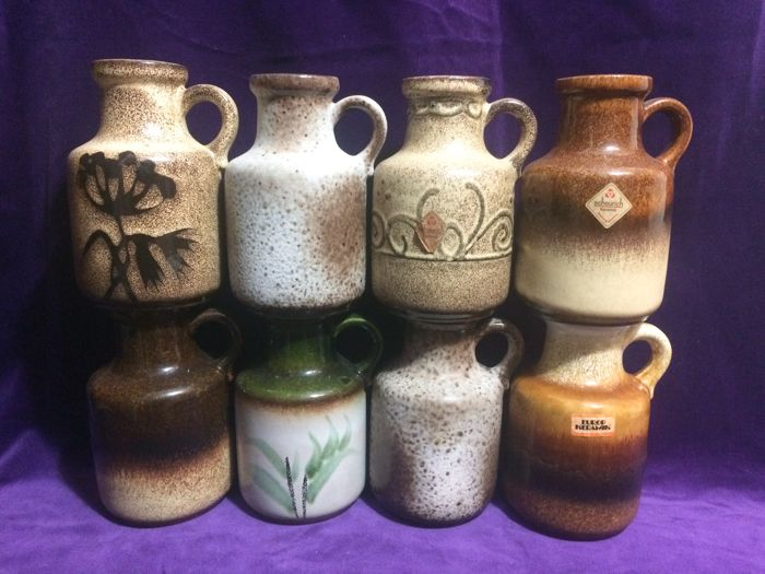 Collection of 8 Scheurich 414-16 Fat Lava vases