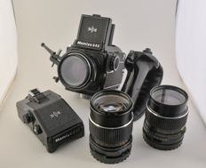 Mamiya 645, with standard, telephoto, wide angle and various accessories