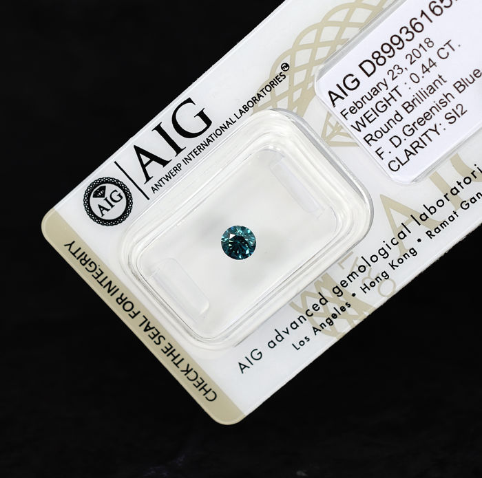 Greenish Blue Diamond – 0.44 ct, EXC/VG/VG