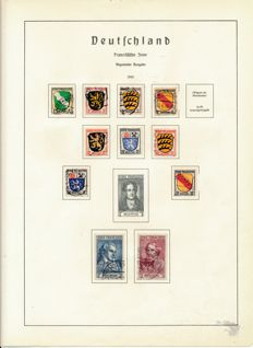 French Zone & Saarland - 1946 - 1958 collection on album sheets with General Issues Michel 12/13
