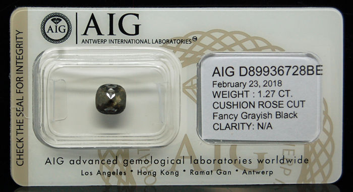 1.27 Cts Certified Natural Fancy Grayish Black Diamond -No reserve