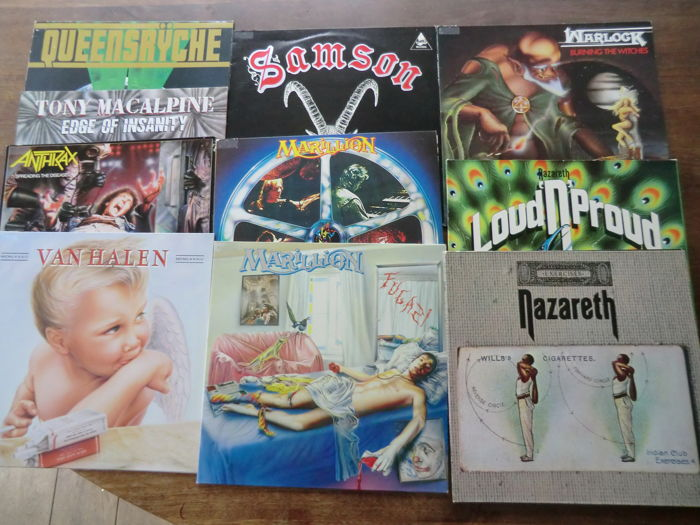 Lot of 10 albums, 2x Marillion, 2 Nazareth, van Halen, Anthrax, Warlock, Samson, Queensryche, Tony Macalpine,