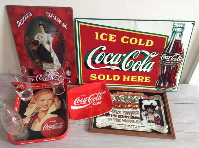 2 tin Coca Cola advertising signs - mirror advertising - Money