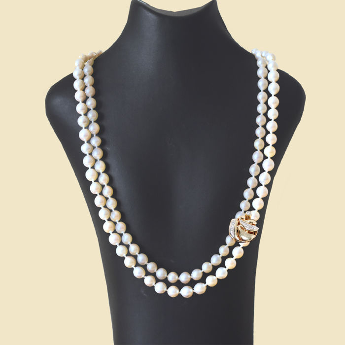 8267ce762ef1c7 Akoya pearl necklace in two rows approx. 80 cm with brilliant clasp 14 kt  110