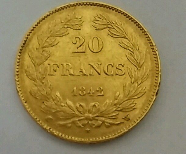 France – 20 Francs 1842 W (Lille) – Louis Philippe I – gold