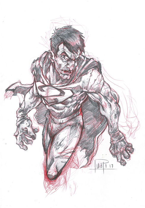 BIZARRO by Juapi - Original Preparatory Sketch -- Superman Classic