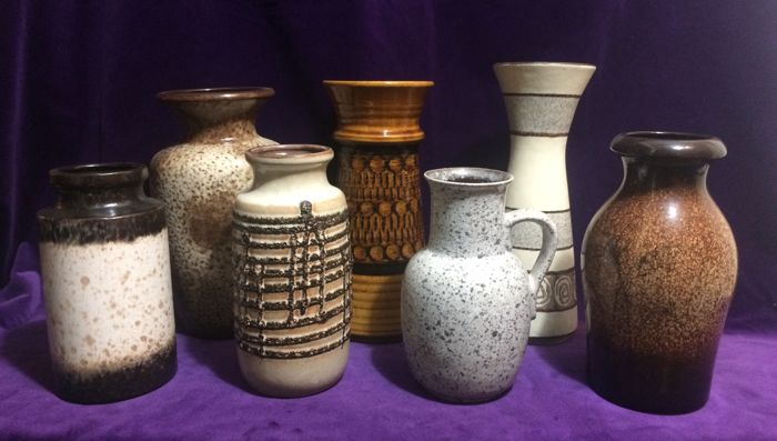 Collection with 7 West-Germany Fat Lava vases