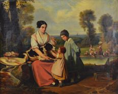 F Nourisson - A mother with her children and pointer dog