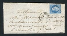 France 1860 – letter from Bayonne for St Mamet ( 1 April 1860 ) – Grid of Bayonne on Yvert n° 14A