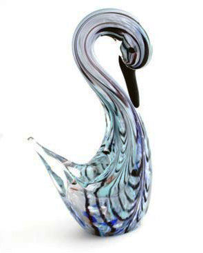 Vetreria TFZ Sandro Frattin - Sommerso swan sculpture with curved neck (21 cm)