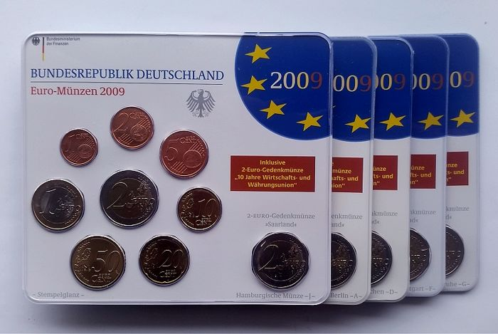 Germany Year Sets 2009 A D F G J Incl 5x 2 Euro Saarland Catawiki