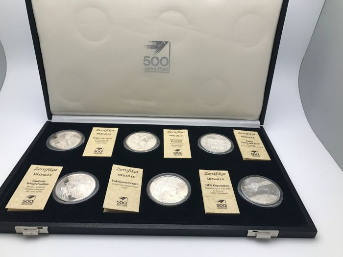 BRD - 6 Medals 500 Years Post 999 Silver with certificate in capsules with original receipt before 1990 in black coin case