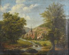 Continental school (19th century) - A village by a river in a hilly landscape