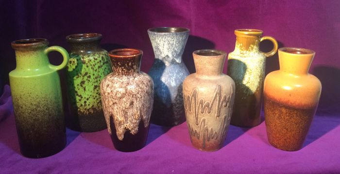 Collection with 7 Scheurich Fat Lava vases