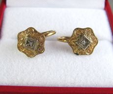 Antique (1930s- 1940s) - Marked - 12K Yellow Gold filled dainty Earrings with genuine Diamonds - NO Reserve