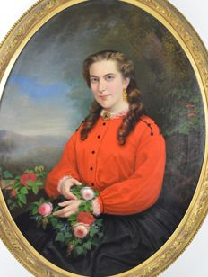 Johannes Louis Wensel (1825-1899) - Portrait of a young woman holding roses