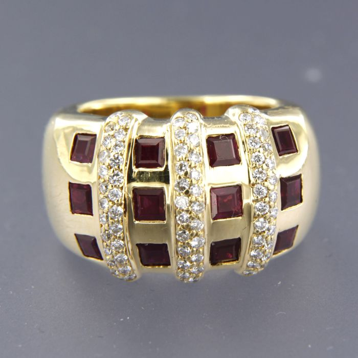 18 kt yellow-gold ring, set with rubies and 75 brilliant-cut diamonds, approx. 0.75 ct in total, ring size: 16.5 (52)
