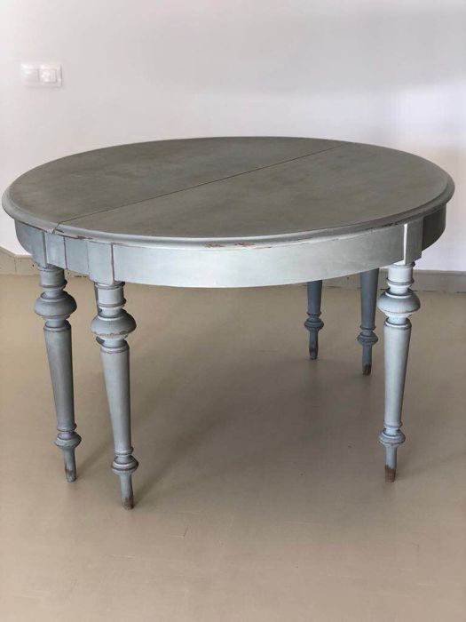 Pair of Swedish oak tables of the 19th century. Painting of a later period