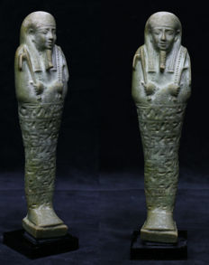 Egyptian faience ushabti with 8 horizontal lines of text - 20 cm