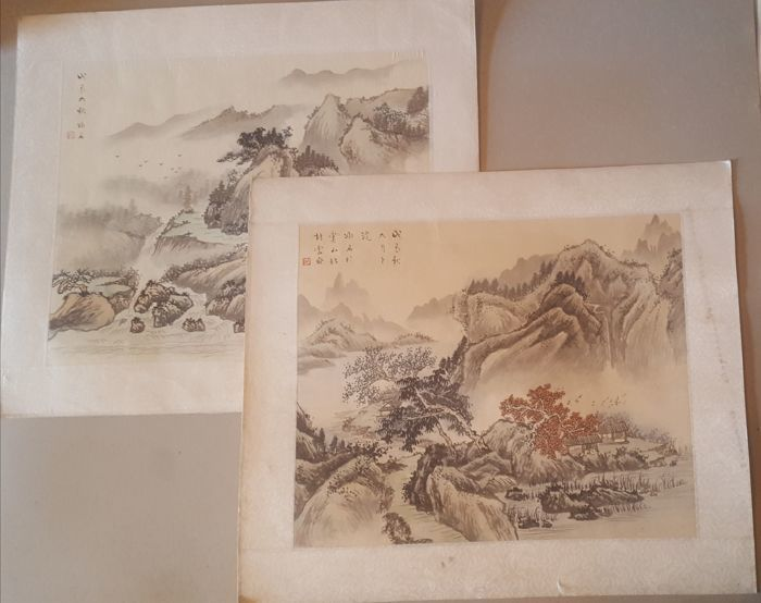 2 watercolours - China - approx. 1928