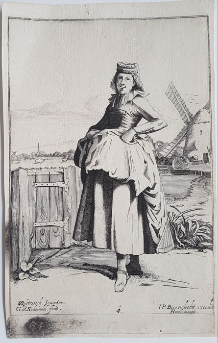4 prints by Gillis Scheyndel (1595-1660) after Buyteweg - Woman in typical Dutch Costumes