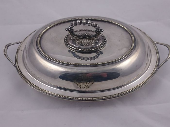 Silver-Plated Entree Dish / Serving Bowl Oval Covered Lidded Bowl
