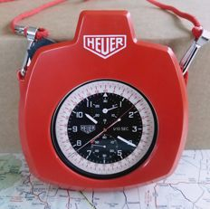 Rare HEUER Jumbo split Chronograph + Heuer Red Carrier 183. Rally / Race time keeping commissary chronograph.