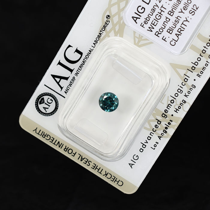 Fancy Bluish Yellowish Green (treated) Diamond - 0.68 ct, VG/VG/VG