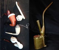 6 - Chinese Smoking Water Pipe and 5 Unusual Pipes with Pipe Holder - 1960-1980