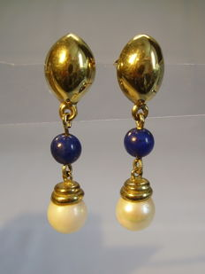 Golden Earrings with lapis lazuli (3 ct) and genuine white Akoya pearls
