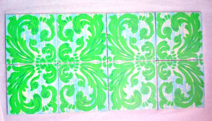 1967 Richard Ginori - Rare Lot of Eight Tiles with Open Motif - Dated and Marked on the back