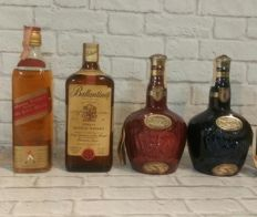 4 bottles - 2 Royal Salute Limited 21 years old, 1 Ballantine's 1970s & 1 Johnnie Walker Red label 1970s