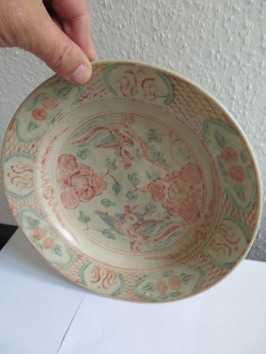 Chinese painted porcelain plate with rich flower and 2 ducks decoration - 250 mm