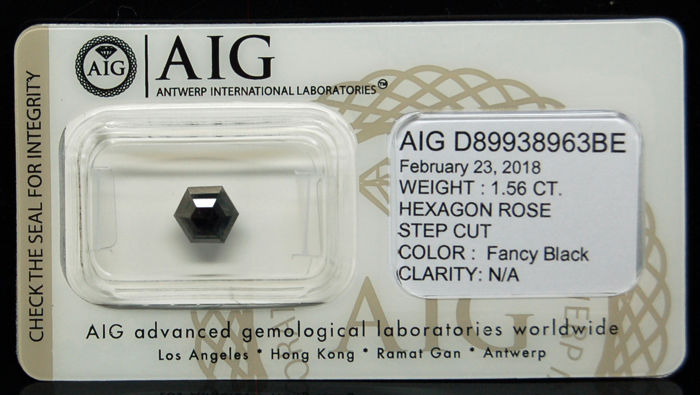 1.56 Cts Certified Natural Fancy Black Diamond -No reserve