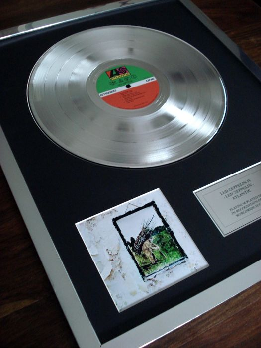 Led Zeppelin IV Platinum Plated Disc Record LP Album Award