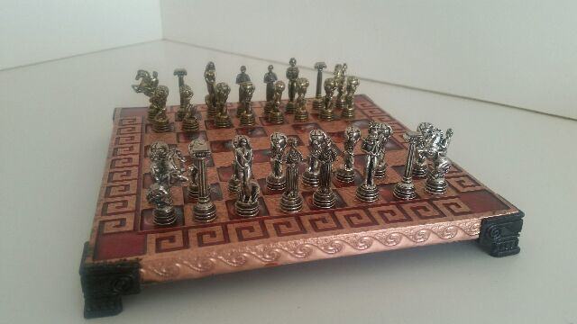 Greek mythological chess game with metal figures