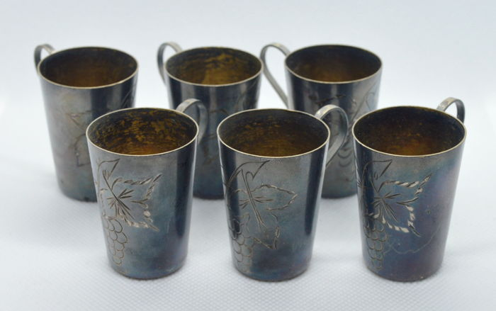 Silver Vodka Shot Glass Cups Set (6 pieces), Russia, after 1958
