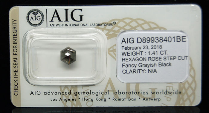 1.41 Cts Certified Natural Fancy Grayish Black Diamond - NO RESERVE