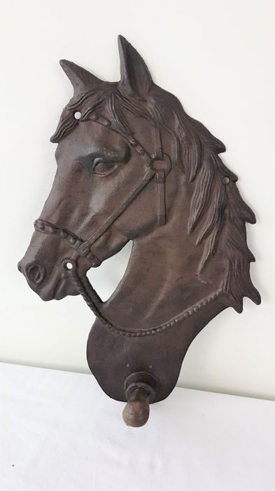 Large cast iron horse head/coat rack hook