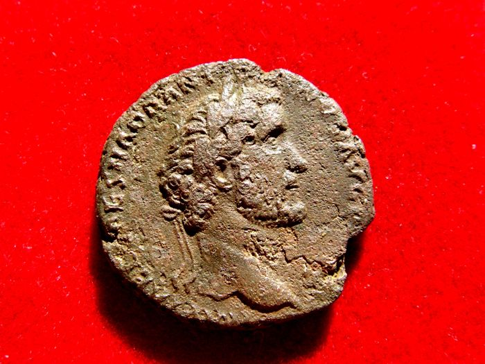 Roman Empire - Antoninus Pius (138 - 161 A.D.), bronze as (11,30 g. 26 mm), minted in Rome, 139 A.D. Fortuna holding rudder and cornucopia. PM.TR.POT.COS.II.