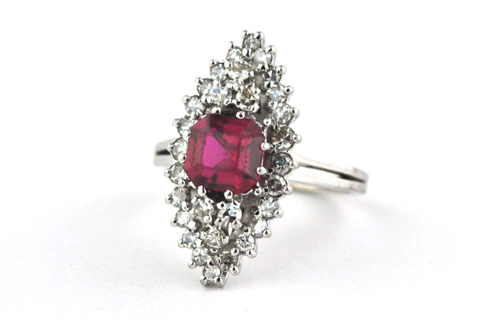 Exclusive Ruby & Diamond Marquise shaped Ring set on 18k White Gold