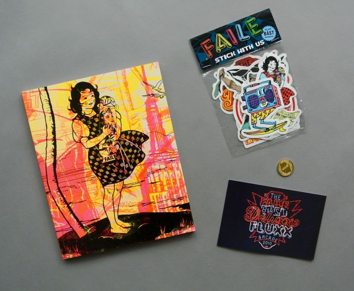 FAILE & BAST - Deluxx Fluxx Arcade Signed Book + Coin + Stickers