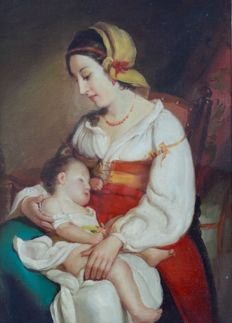 Continental school (19th century) - Mother with her baby