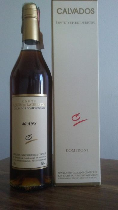 Calvados 40 Ans d'age Comte Louis De Lauriston (40 years of aging) Domfrontais Appellation Calvados Domfrontais Controlee, one bottle.