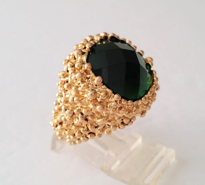 Nina Ricci 18kt Gold Plated Green Crystal Ring