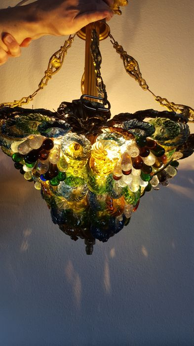 Murano style chandelier - glass leaves and grapes, ca. 1960, Italy