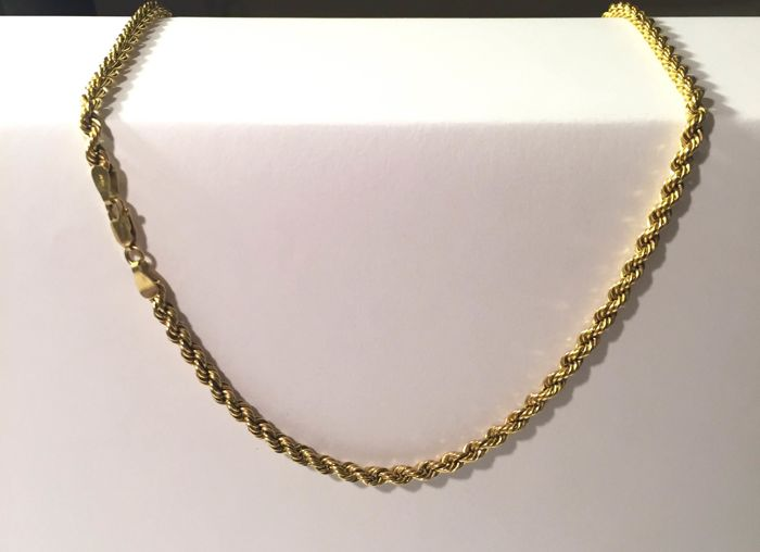 18 kt yellow gold diamond-cut cord necklace from the brand Josifa - 8.26 grams - Length: 51 cm - Width: 4 mm