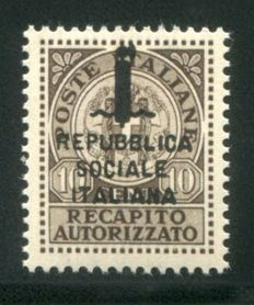 """Italy, 1944 – Italian Social Republic – GNR – 10 cent, authorised delivery, with """"Fasces"""" overprint, not issued – Sass. No. 3A"""