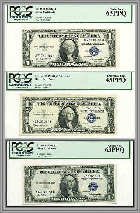 Usa 3 X 1 Dollar 1935 1957 Silver Certificate Including