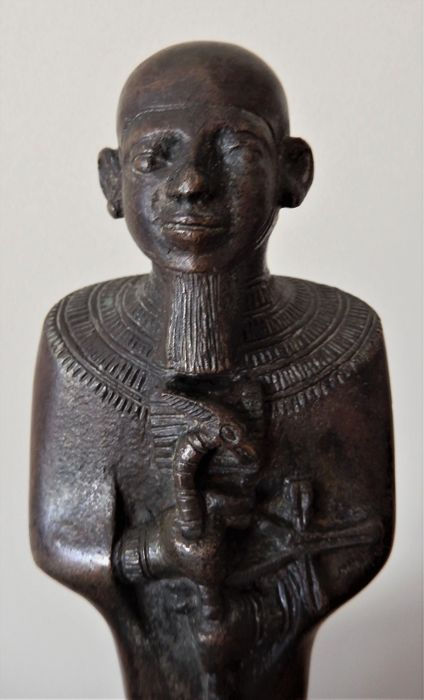 A sizeable Egyptian Late Period bronze statue of Ptah.